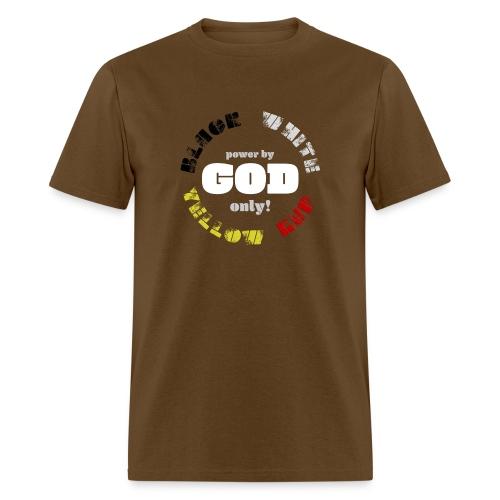 Power by GOD (Black, White, Yellow, Red) - Men's T-Shirt