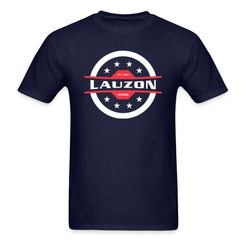 White on Black Lauzon MMA Logo w No Words - Men's T-Shirt