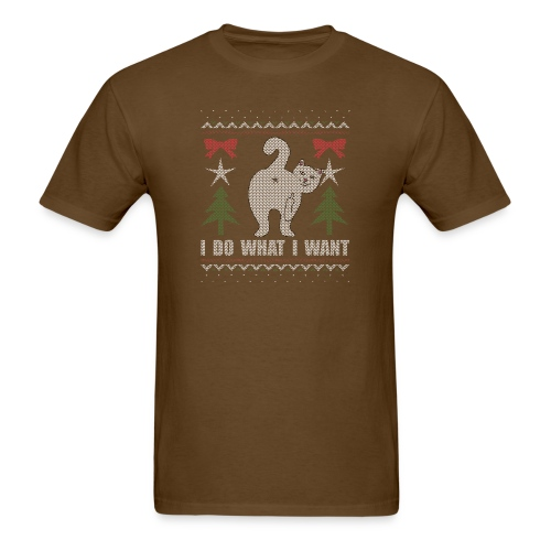 Ugly Christmas Sweater I Do What I Want Cat - Men's T-Shirt