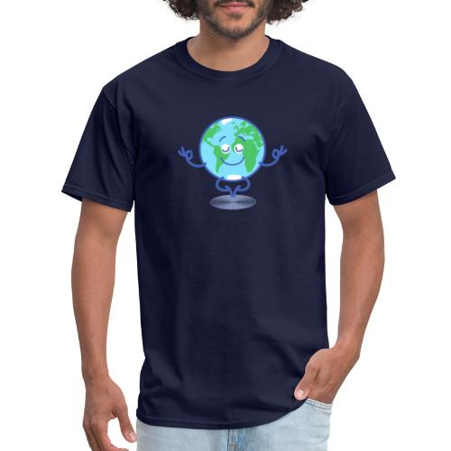 Planet Earth meditating and smiling - Men's T-Shirt