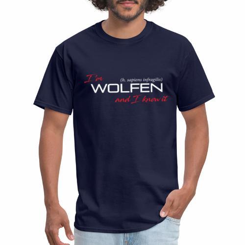 Front/Back: Wolfen Atitude on Dark - Adapt or Die - Men's T-Shirt