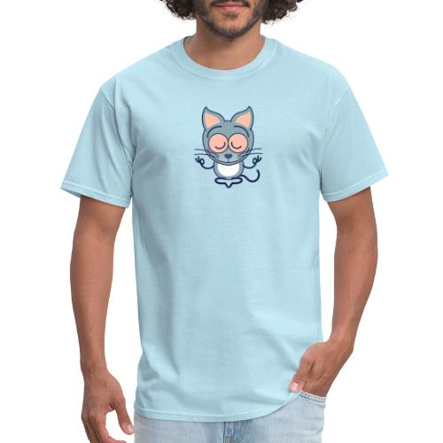 Gray cat meditating in joyful mood - Men's T-Shirt