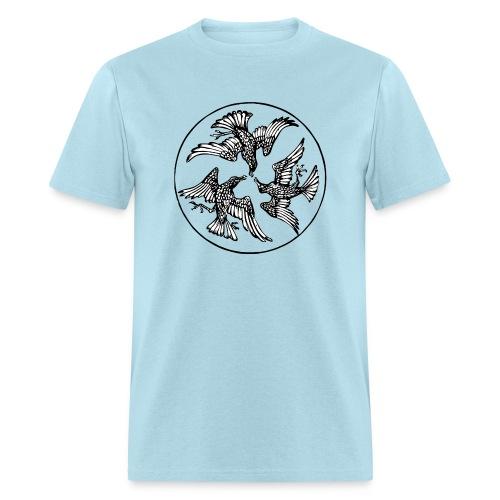 Three Crows in a Circle - Vintage Circle Motif - Men's T-Shirt