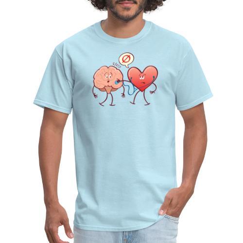 Heart examinating Brain with Stethoscope - Men's T-Shirt
