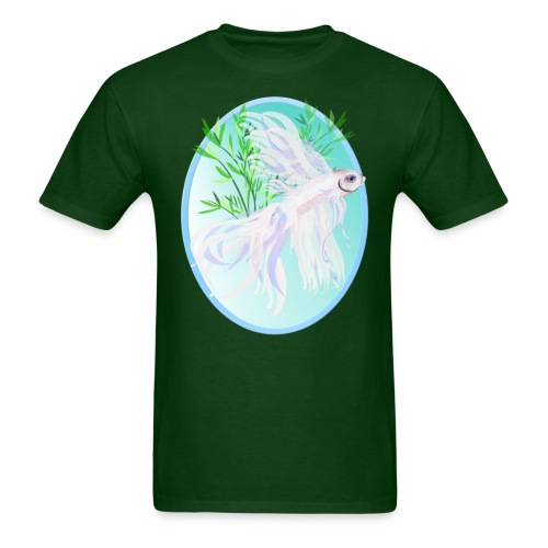White Siamese Fighting Fish Oval - Men's T-Shirt