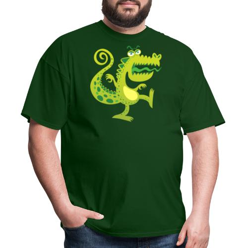 Scary reptile like monster growling in angry mood - Men's T-Shirt