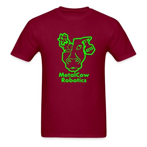 MetalCowLogo GreenOutline - Men's T-Shirt