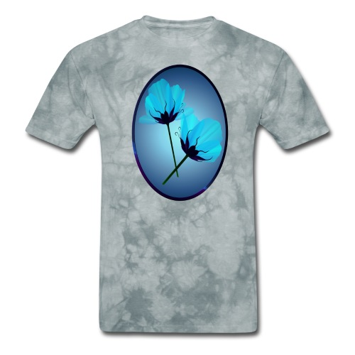 Two Electric Blue Flowers Oval - Men's T-Shirt