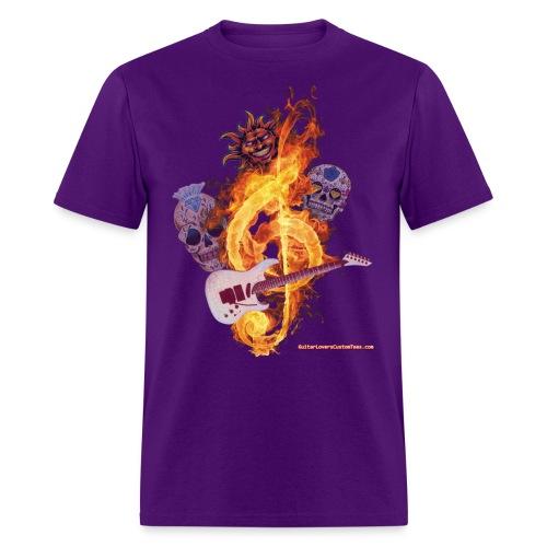 GuitarFireClef by GuitarLoversCustomTees png - Men's T-Shirt