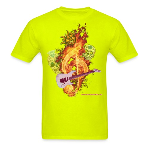 GuitarFireClef by GuitarLoversCustomTees png - Men's T-Shirt