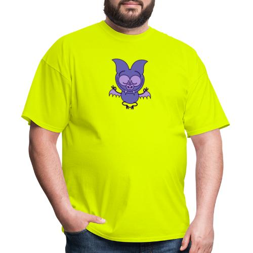 Purple bat meditating in joyful mood - Men's T-Shirt