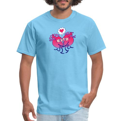 Couple of hearts in love kissing passionately - Men's T-Shirt