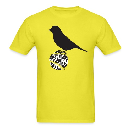 Maryland Flag with Oriole Silhouette - Men's T-Shirt