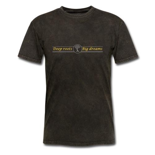 Deep Roots Big Dreams Gold with Tree - Men's T-Shirt