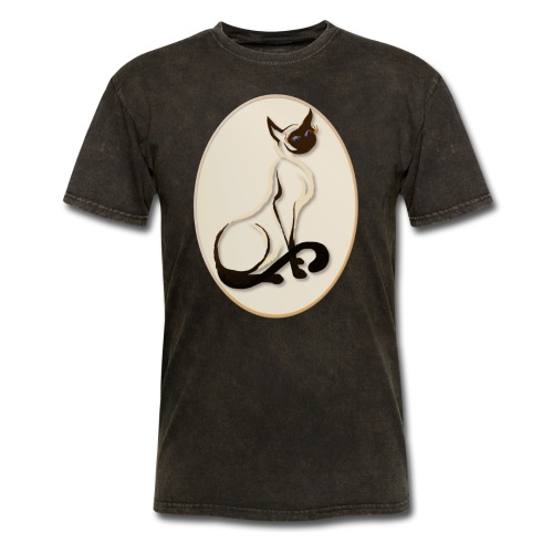 Sitting Siamese Kitty Oval - Men's T-Shirt