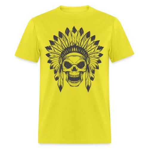 t shirt skull war hat feather native amerindian - Men's T-Shirt