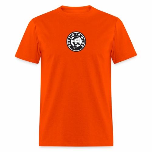 Solid Puttin' In Work Logo - Men's T-Shirt