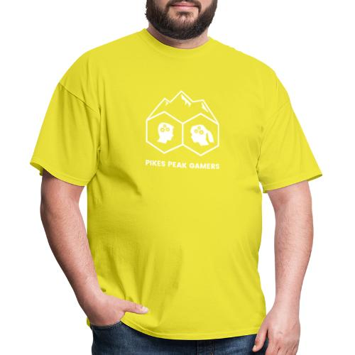 Pikes Peak Gamers Logo (Transparent White) - Men's T-Shirt