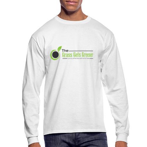 The Grass Gets Greener Logo w/ Text - Men's Long Sleeve T-Shirt