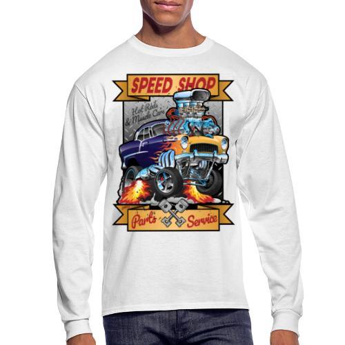 Speed Shop Hot Rod Muscle Car Cartoon Illustration - Men's Long Sleeve T-Shirt