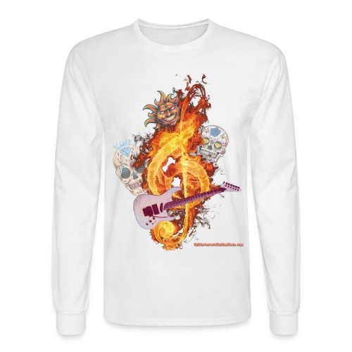 GuitarFireClef by GuitarLoversCustomTees png - Men's Long Sleeve T-Shirt