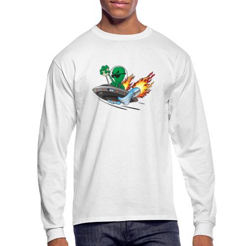 UFO Alien Hot Rod Cartoon Illustration - Men's Long Sleeve T-Shirt