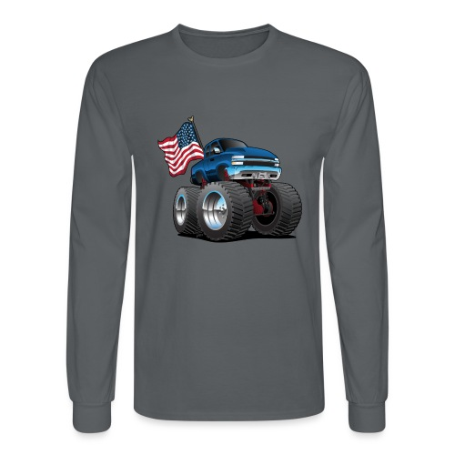 Monster Pickup Truck with USA Flag Cartoon - Men's Long Sleeve T-Shirt