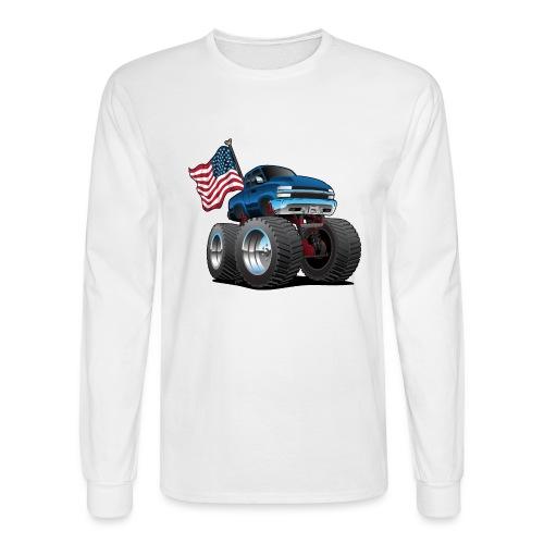 Monster Pickup Truck with USA Flag Cartoon - Men's Long Sleeve T-Shirt