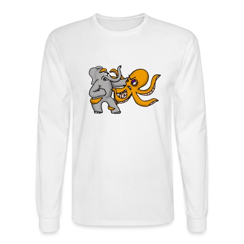 Elephant vs. Octopus T-Shirt - Men's Long Sleeve T-Shirt