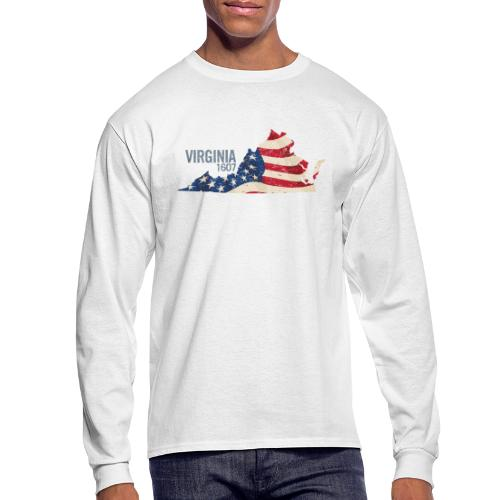 Virginia 1607 with USA Stars and Stripes - Men's Long Sleeve T-Shirt