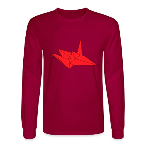 Origami Paper Crane Design - Red - Men's Long Sleeve T-Shirt