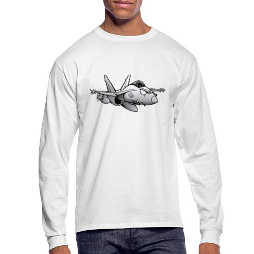 Military Fighter Attack Jet Airplane Cartoon - Men's Long Sleeve T-Shirt