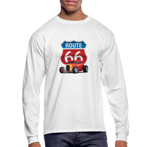Route 66 Sign with Classic American Red Hotrod - Men's Long Sleeve T-Shirt
