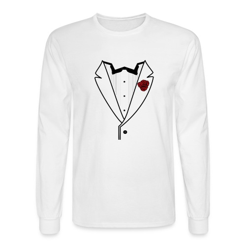Tuxedo w/Black Lined Lapel - Men's Long Sleeve T-Shirt