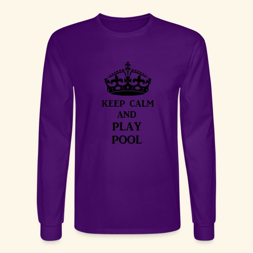 keep calm play pool blk - Men's Long Sleeve T-Shirt