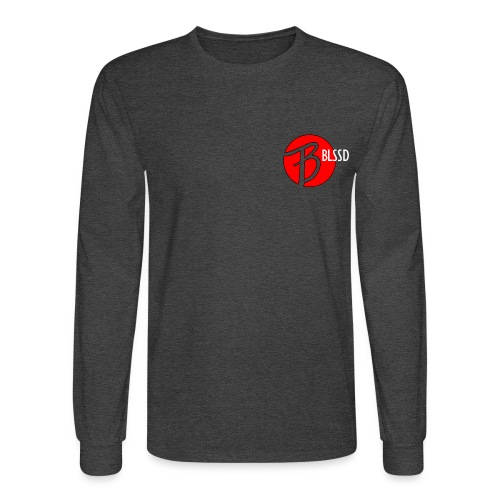 RED BLSSD CIRCLE WITH WHITE WRITING - Men's Long Sleeve T-Shirt