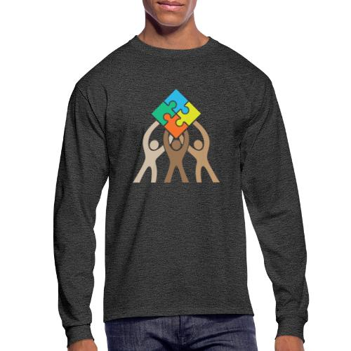 Teamwork and Unity Jigsaw Puzzle Logo - Men's Long Sleeve T-Shirt