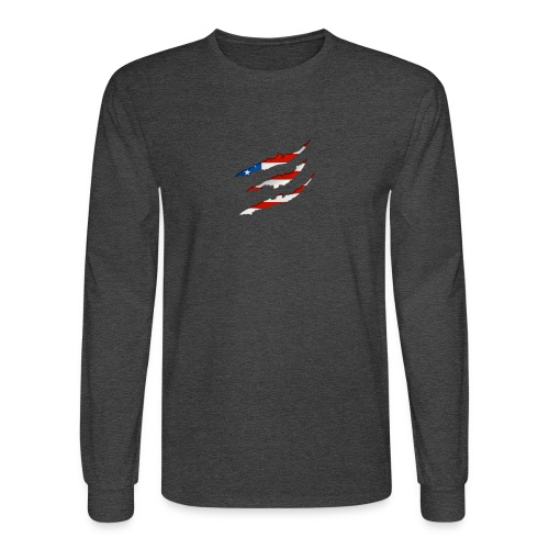 3D American Flag Claw Marks T-shirt for Men - Men's Long Sleeve T-Shirt