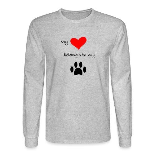 Dog Lovers shirt - My Heart Belongs to my Dog - Men's Long Sleeve T-Shirt