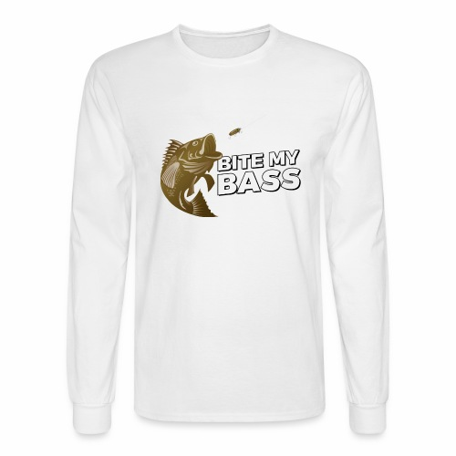 Bass Chasing a Lure with saying Bite My Bass - Men's Long Sleeve T-Shirt