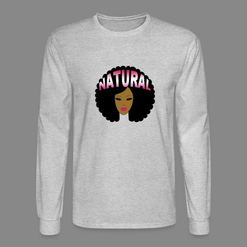 Natural Afro (Pink) - Men's Long Sleeve T-Shirt