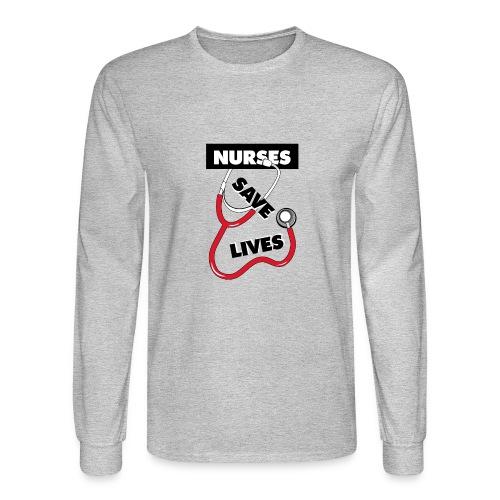 Nurses save lives red - Men's Long Sleeve T-Shirt