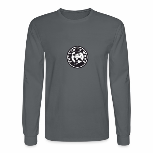 Solid Puttin' In Work Logo - Men's Long Sleeve T-Shirt
