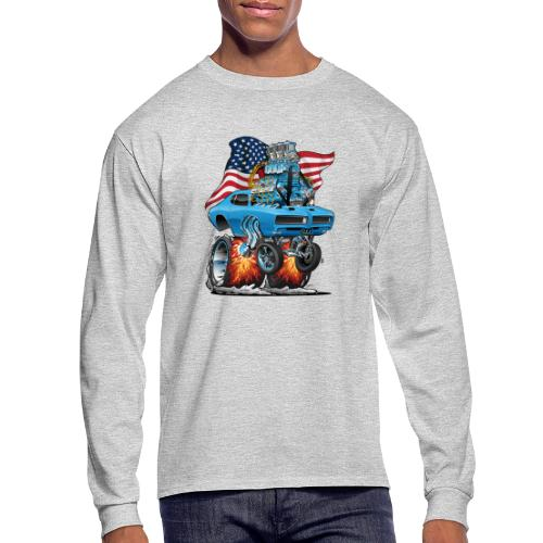 Patriotic Sixties American Muscle Car with Flag - Men's Long Sleeve T-Shirt