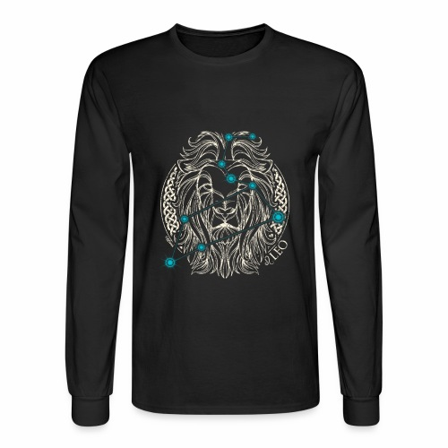 LEO Zodiac Constellation with Celtic Ring - Men's Long Sleeve T-Shirt