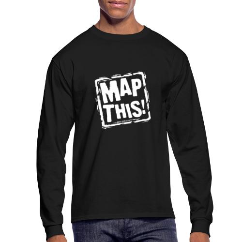 MapThis! White Stamp Logo - Men's Long Sleeve T-Shirt