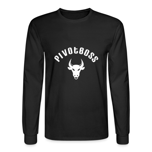 PivotBoss Curved Logo - White - Men's Long Sleeve T-Shirt