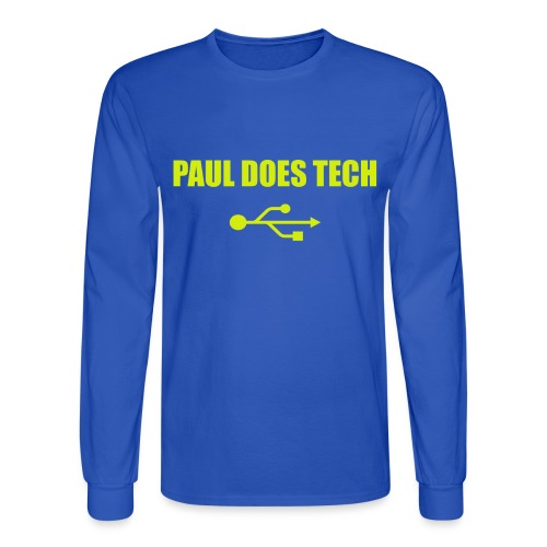 Paul Does Tech Yellow Logo With USB (MERCH) - Men's Long Sleeve T-Shirt