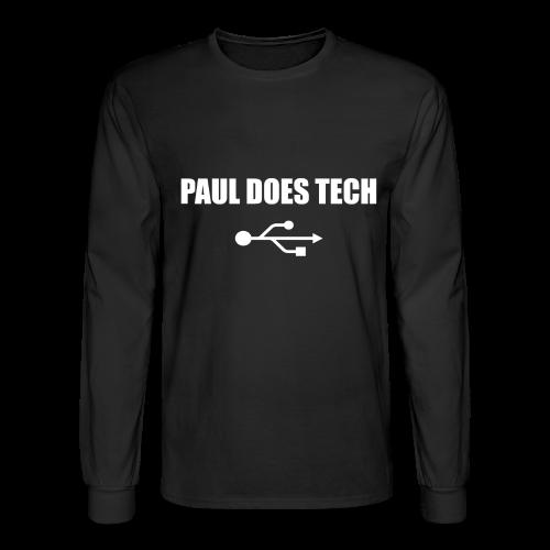 Paul Does Tech White Logo With USB - Men's Long Sleeve T-Shirt