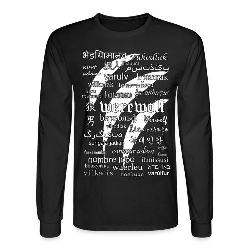 Werewolf in 33 Languages (Black Version) - Men's Long Sleeve T-Shirt